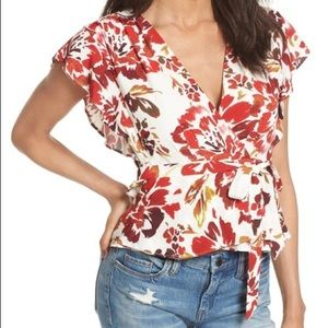 Lovers and Friends floral Butterfly wrap top